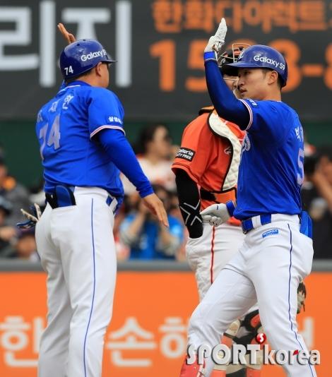 박해민, 시즌 첫 홈런으로 동점타점