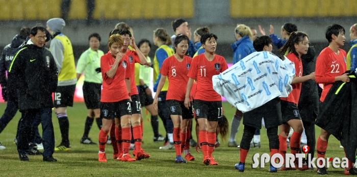 1-1 무승부 한국, 비오는 날씨속에 선전!